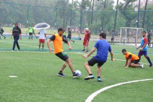 Student playing football